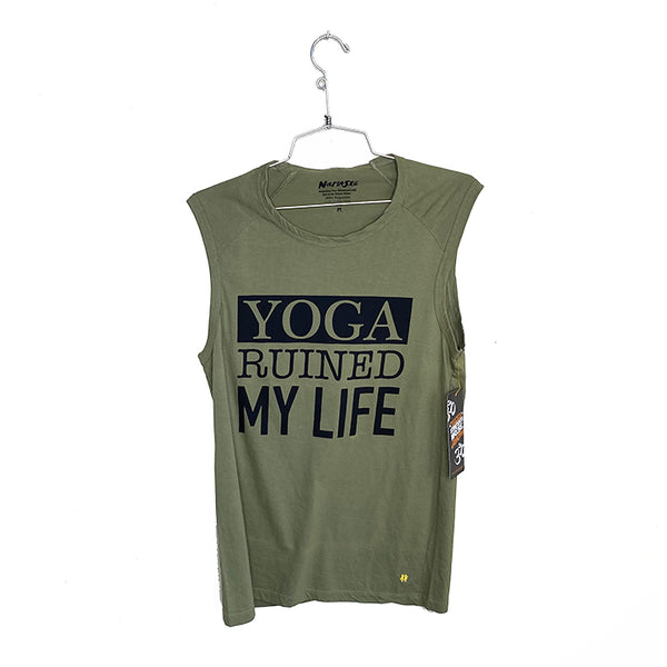 YOGA RUINED MY LIFE  ~ MENS OLIVE MUSCLE COTTON TANK