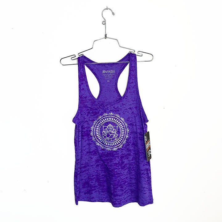 GANESH CIRCLE ~ PURPLE BURNOUT RACER TANK