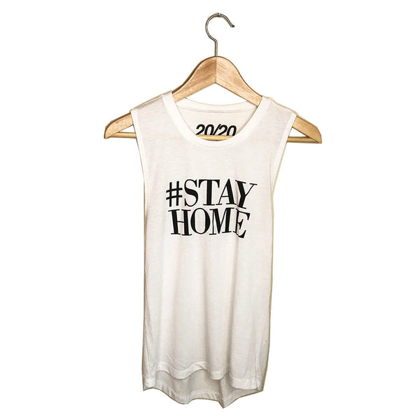 HASHTAG STAY HOME  - WHITE COTTON MUSCLE TANK  FREE SHIPPING USA