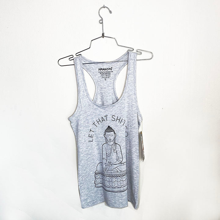 LET THAT SHIT GO ~ COTTON RACER TANK HEATHER GREY