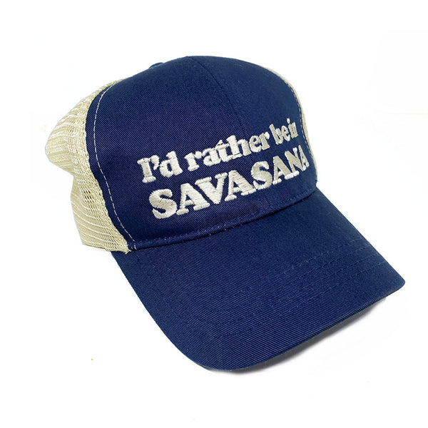 I RATHER BE IN SAVASANA ~ NAVY ECO UNISEX TRUCKER MESH CAP
