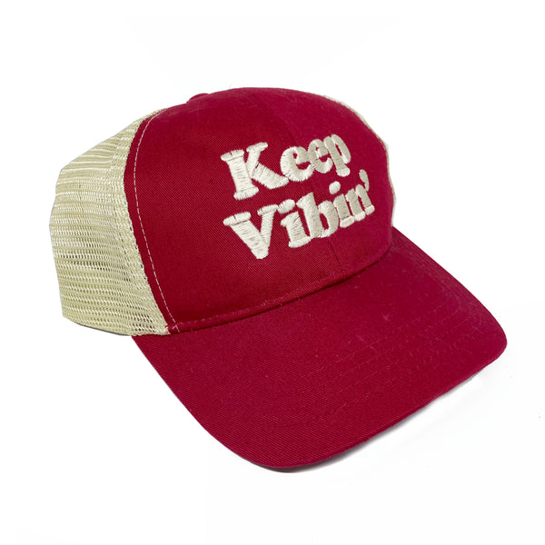 KEEP VIBIN' ~ RED ECO UNISEX TRUCKER MESH CAP