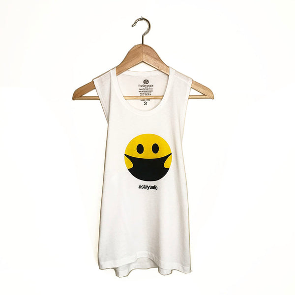 STAY SAFE HAPPY MASK ~  WHITE COTTON MUSCLE TANK