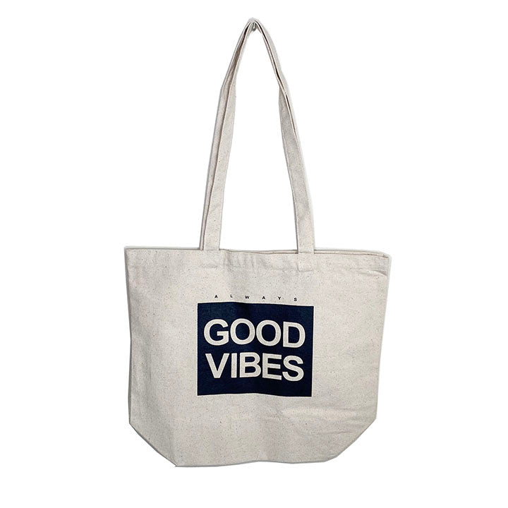 ALWAYS GOOD VIBES  ~ 8 OZ BLACK ORGANIC TOTE 19x16