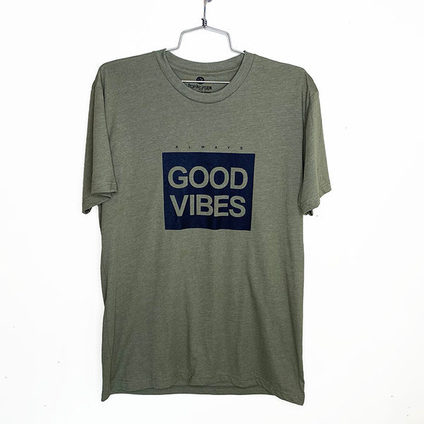 ALWAYS GOOD VIBES ~  OLIVE MEN SHEER JERSEY CREW T-SHIRT