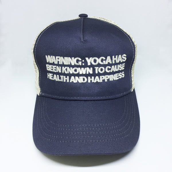 WARNING NAVY ECO HIGH TOP 5-PANEL UNISEX TRUCKER MESH CAP