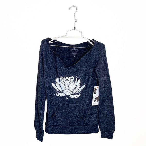 SACRED LOTUS ~ RAW NECK FLEECE SWEATSHIRT