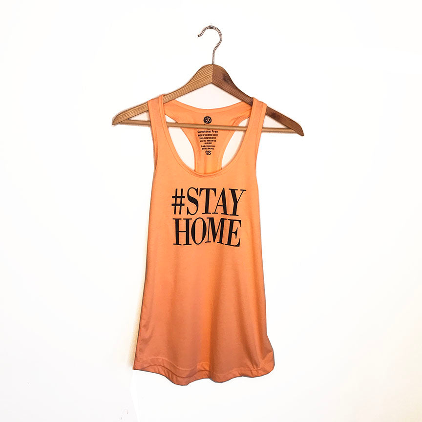 HASHTAG STAYHOME ~ LIGHT ORANGE COTTON RACER TANK