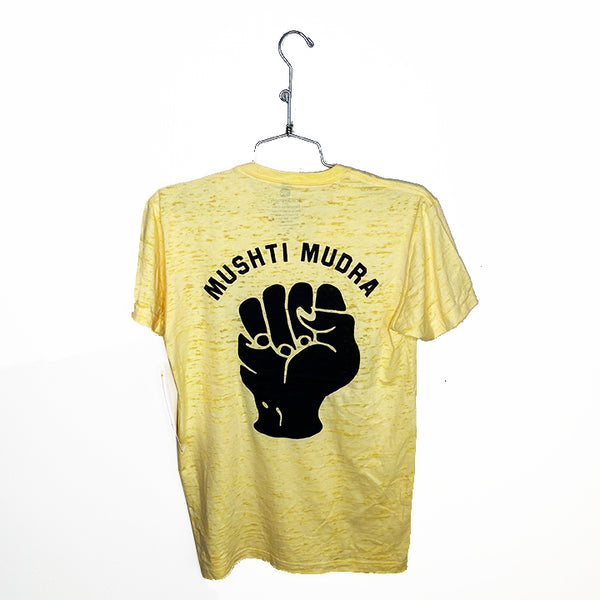 MUSHTI MUDRA ~ YELLOW MEN BURNOUT FITTED CREW T-SHIRT