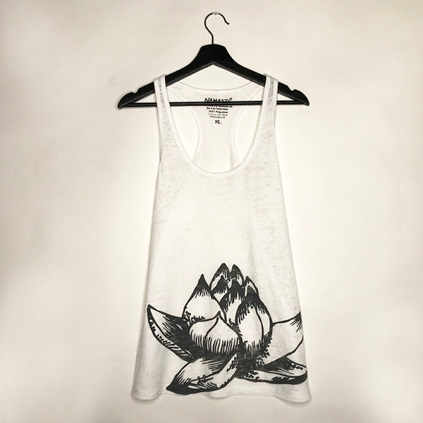 LOTUS ~ WOMAN WHITE BURNOUT RACER TANK