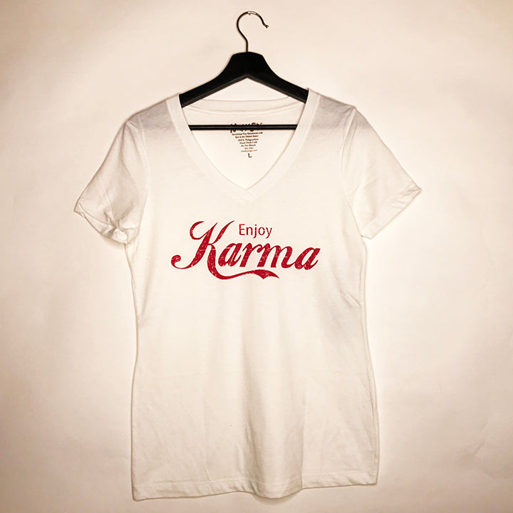 ENJOY KARMA WHITE COTTON V-NECK TEE