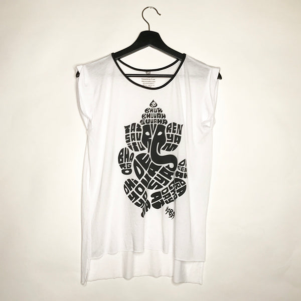 GANESHA WHITE ROLLED CUFFED TEE