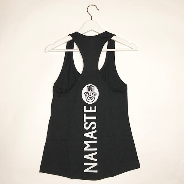 NAMASTE HAMSA ~ BLACK COTTON RACER TANK