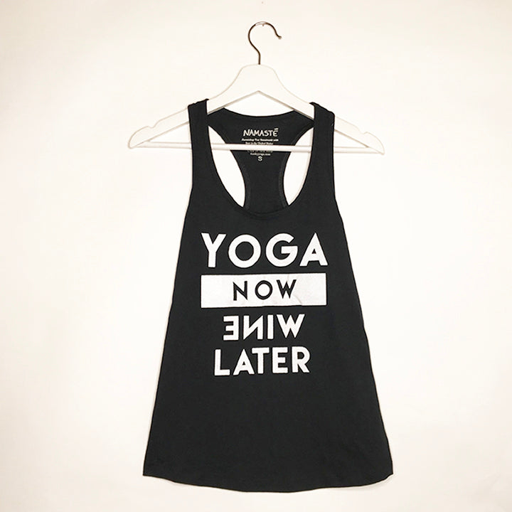 YOGA NOW ~ BLACK COTTON RACER TANK (ONLY XL)