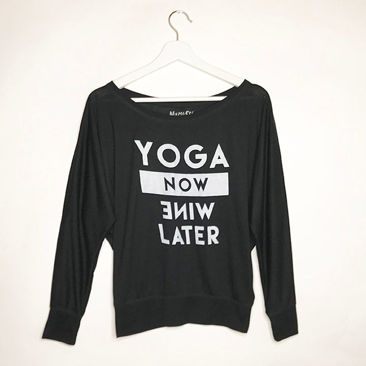 YOGA NOW BLACK WOMAN FLOWY LONG SLEEVES