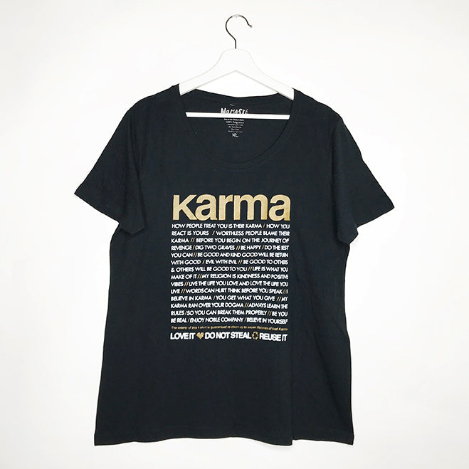 KARMA QUOTES WOMAN COTTON CREW T-SHIRT