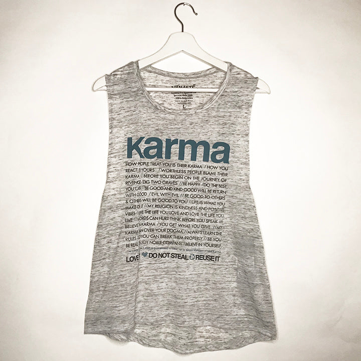 BLUE KARMA QUOTES MARBLE WHITE MUSCLE TANK