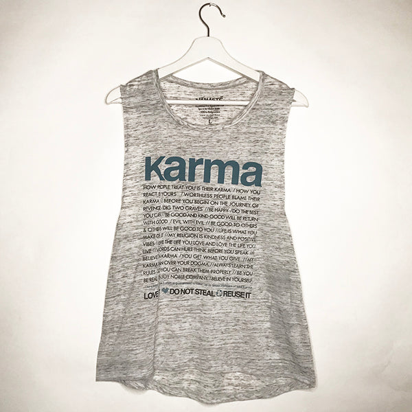 KARMA QUOTES MARBLE WHITE GIRLS MUSCLE TANK