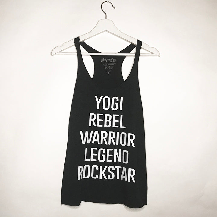 YOGI REBEL HEATHER BLACK TRI BLEND RACER TANK