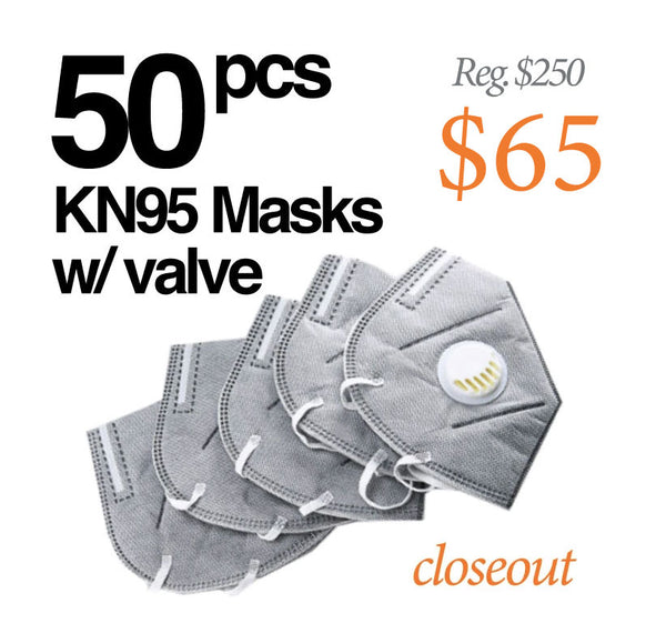 50-PACK ~ KN95 PROTECTIVE RESPIRATOR MASK  - GREY WITH DECOMPRESSION VALVE AND ACTIVATED CARBON FILTER FILTERS AIR 95% (SHIPS IMMEDIATELY)