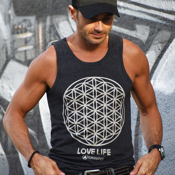 LOVE LIFE LOKO YOGI MENS BLACK TRIBLEND TANK