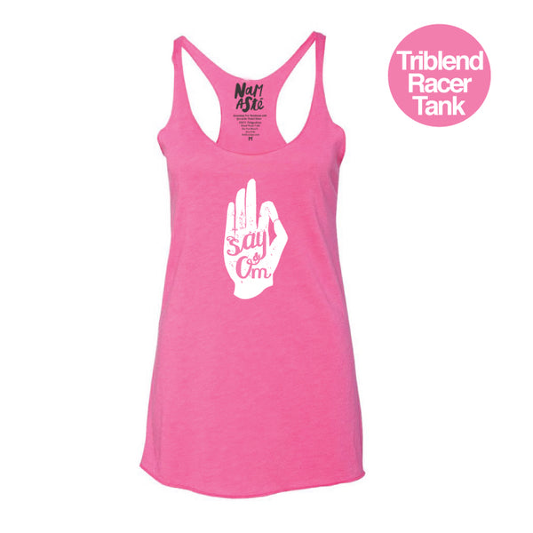 SAY OM HEATHER HOT PINK TRIBLEND RACER TANK
