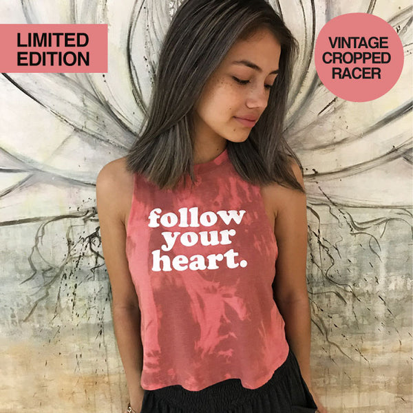 FOLLOW YOUR HEART ~ VINTAGE HEATHER MAUVE CROP RACER TANK