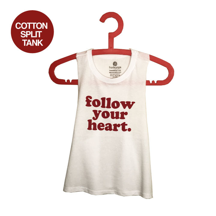 FOLLOW YOUR HEART ~ WHITE CROPPED RACER TANK