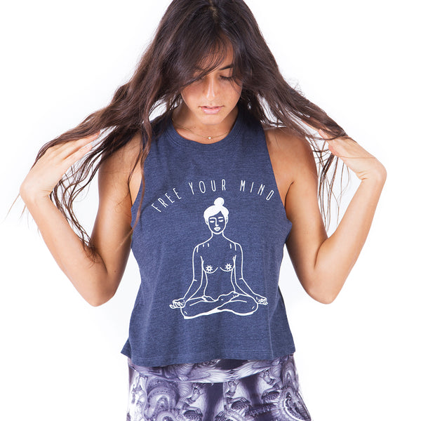 FREE YOUR MIND ~ HEATHER NAVY CROP RACER TANK