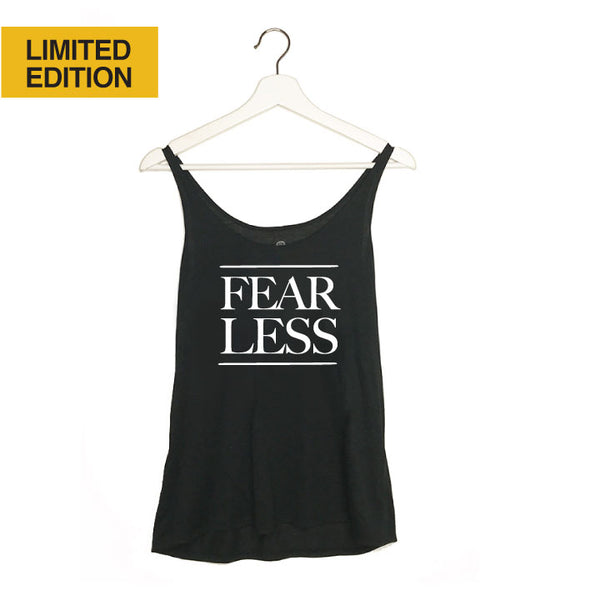 FEAR LESS ~ SOLID BLACK FLOWY BOXY TANK