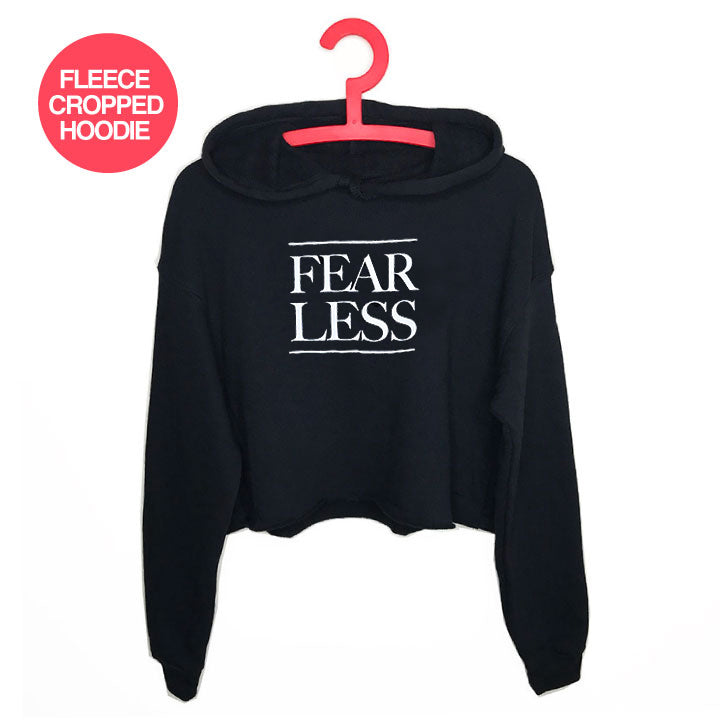 FEARLESS ~ SOLID BLACK FLEECE CROPPED HOODIE