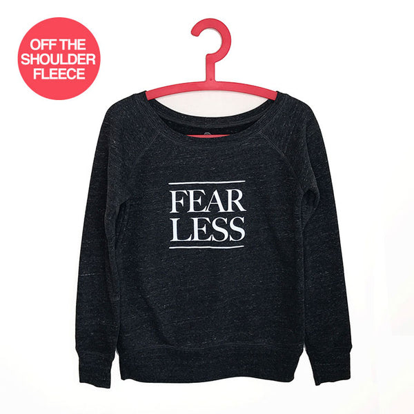 FEAR LESS ~ HEATHER BLACK OFF THE SHOULDER TRI BLEND FLEECE