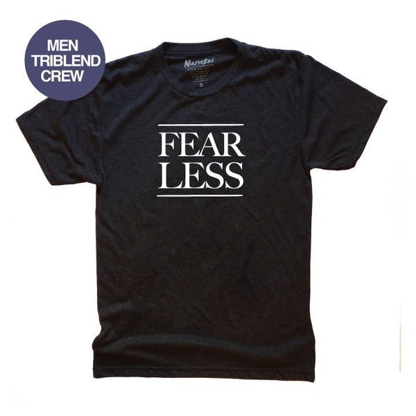 FEAR LESS ~ HEATHER BLACK MENS TRIBLEND CREW T-SHIRT