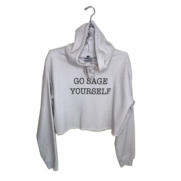 GO SAGE YOURSELF ~ SAND FLEECE CROPPED HOODIE