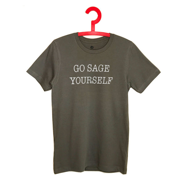 GO SAGE YOURSELF ~  WARM GREY MEN SHEER FITTED CREW T-SHIRT