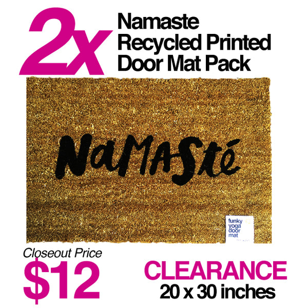 2-PACK  NAMASTE COOL PRINTED DOOR MAT NATURAL
