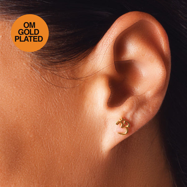 OM SYMBOL GOLD PLATED EARRINGS