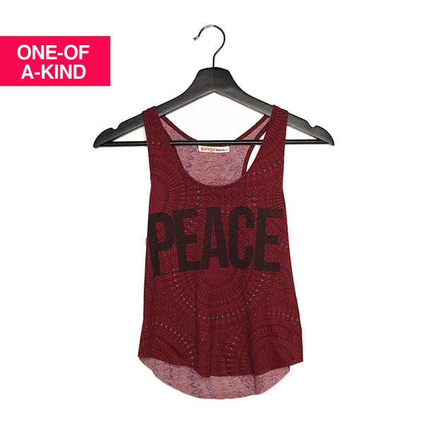 ONE-OF-A KIND PEACE~ MANDALA CROPPED RACER TANK