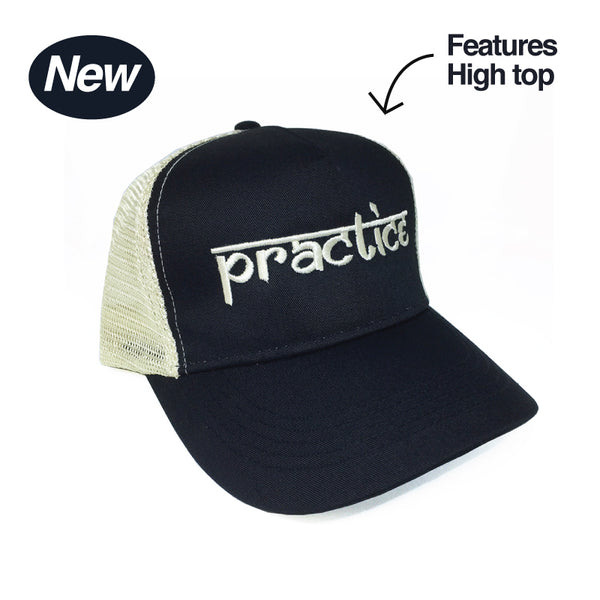 PRACTICE BLACK ECO HIGH TOP 5-PANEL UNISEX TRUCKER MESH CAP