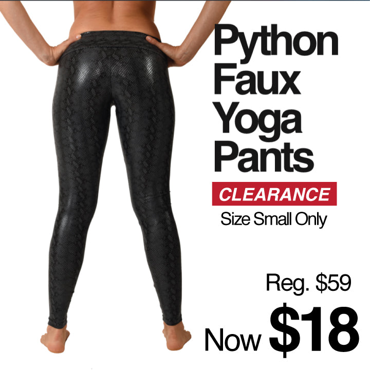 BLACK PYTHON YOGA LEGGINGS CLEARANCE