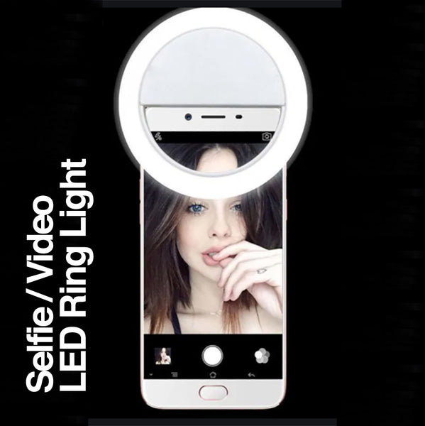 RECHARGEABLE CLIP-ON SELFIE / VIDEO LED RING LIGHT FOR SMART PHONE, LAPTOP OR TABLE