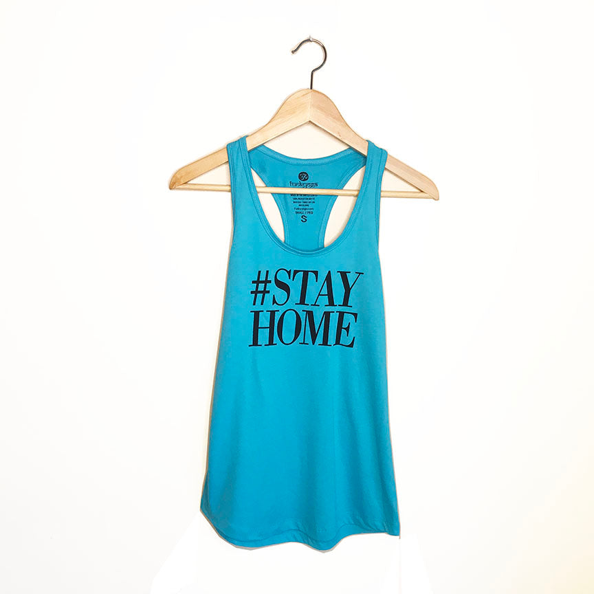 HASHTAG STAYHOME ~ TEAL COTTON RACER TANK