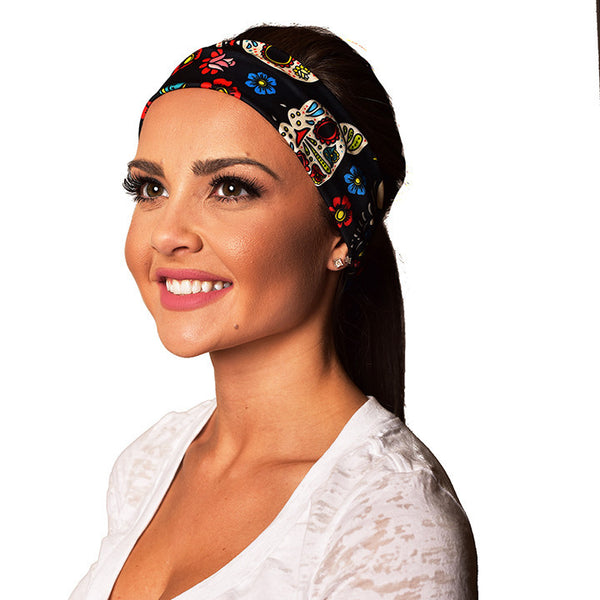 SKULLS YOGA RECYCLED HEADBAND  YRH-SKULLS - Funky Yoga  Gear & Accessories