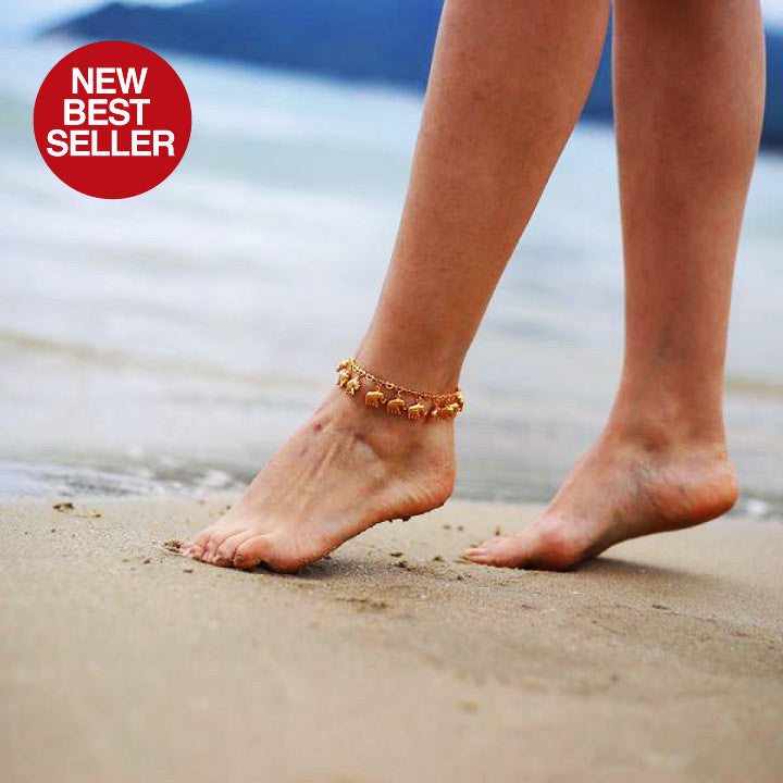 SILVER/GOLD ELEPHANTS ANKLET FOR WOMEN