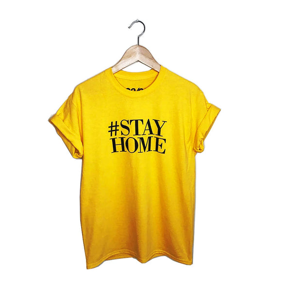 HASHTAG STAY HOME ~ GOLD  UNISEX / MEN CREW T-SHIRT