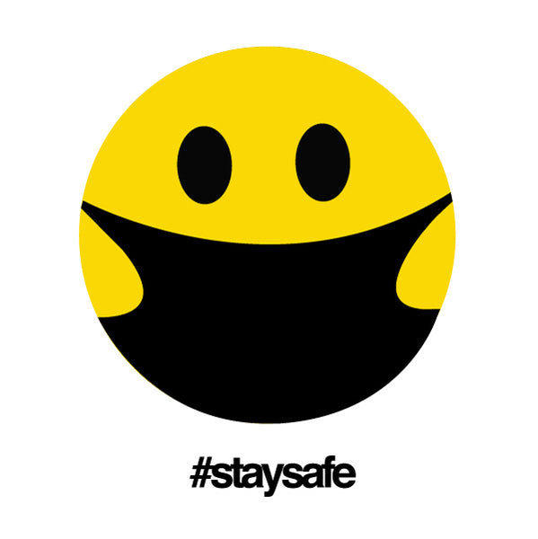STAY SAFE HAPPY MASK ~ UNISEX WHITE SHEER CREW T-SHIRT