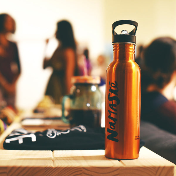 NAMASTE ORANGE STAINLESS STEEL BOTTLE 26 OZ