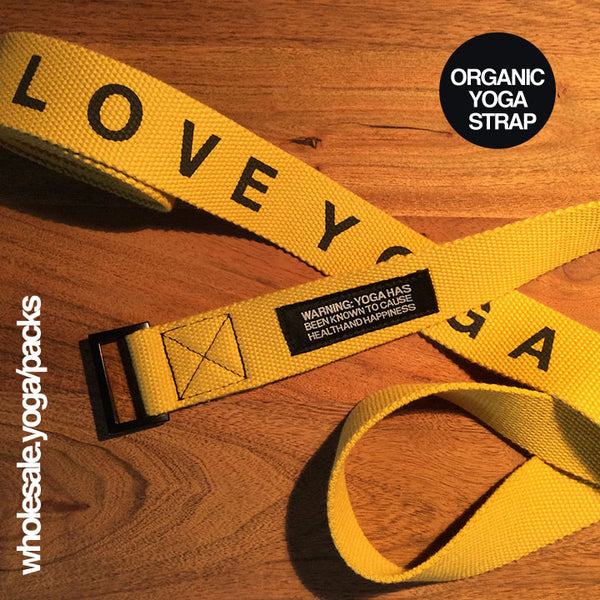 2-PACK OF 8' ORGANIC PRINTED YELLOW GOLD YOGA STRAP CLOSEOUT