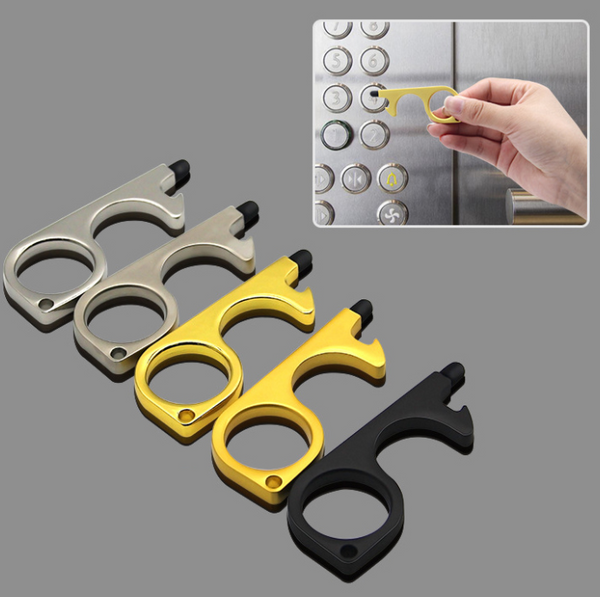 3-PACK METAL  PROTECTOR DOOR OPENER TOOL & RUBBER TIP BUTTON PUSHER – HANDS FREE KEYCHAIN UTILITY HOOK KEY