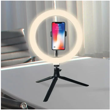 "VIDEO CONFERENCE RING LIGHT KIT - 10"" LED, DESKTOP STAND AND PHONE HOLDER"